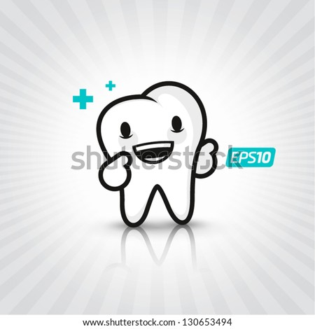 Smiling tooth - stock vector