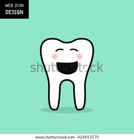 Smiling tooth icon and symbol great for any use.