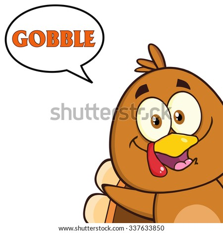 Smiling Turkey Bird Cartoon Character Looking From A Corner With Speech Bubble And Text. Vector Illustration Isolated On White - stock vector