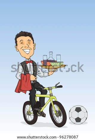 Smiling waiter cycling serves drinks and dishes - stock vector