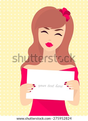 Smiling Woman with plate. Happy shopping girl. Vector. Girl call in shop, where discount, for to promote sales. Commercial background with lady which invites customers. Retro background. - stock vector