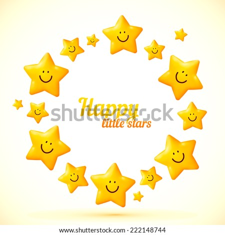 Smiling yellow cute stars vector circle frame - stock vector