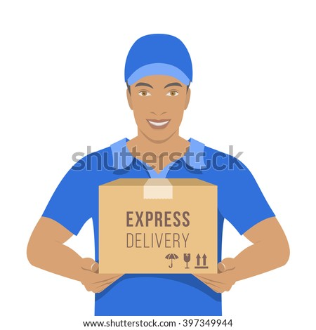 Smiling young attractive African American man courier holding a parcel in a cardboard box. Flat vector illustration. Express delivery boy in a blue uniform concept. Front view on white - stock vector