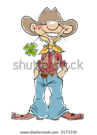 Smiling young cowboy. Vector Illustration.