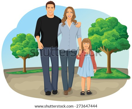 Smiling young family walking hand in hand in the park - stock vector