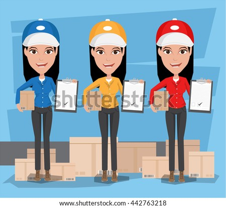 Smiling young female postal delivery courier Women in front of package - stock vector