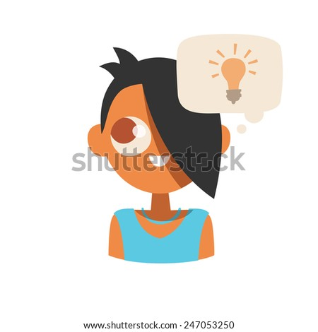 Smiling young lady avatar character in blue color dresses, with a dark color hair and have idea speech bubble, isolated on a white background, simplicity cartoon flat style, vector illustration icon. - stock vector
