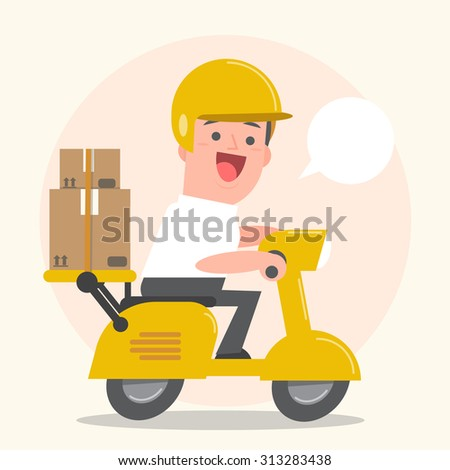 Smiling young man postal delivery with motor bike - white speech bubbles - Vector Illustration - stock vector