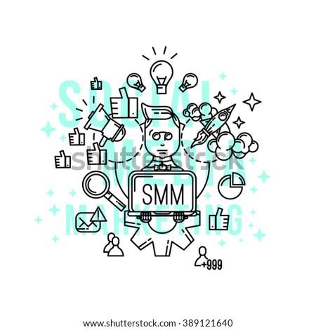 SMM expert / specialist / freelance. Social media marketing concept illustration. Vector SMM ions set. freelance infographic Outline flat style. Line art . Social media  freelancer . Marketing expert - stock vector
