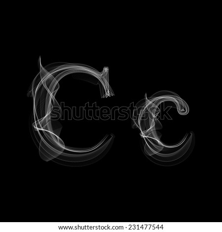 Smoke font. Letter C. Vector illustration alphabet - stock vector