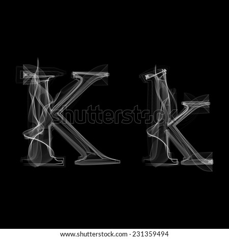 Smoke font. Letter K. Vector illustration alphabet - stock vector