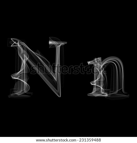 Smoke font. Letter N. Vector illustration alphabet - stock vector