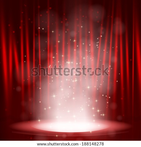 Smoke on the stage with red background. Vector illustration - stock vector