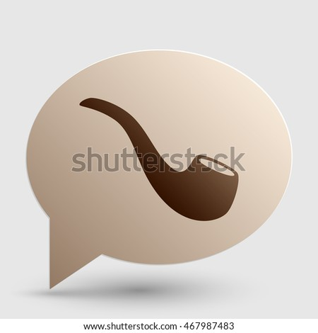 Smoke pipe sign. Brown gradient icon on bubble with shadow.