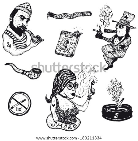 Smoke Tobacco Drugs And Cigarettes Set/ Illustration of a set of doodle hand drawn cigarette, tobacco drugs and smoking elements - stock vector