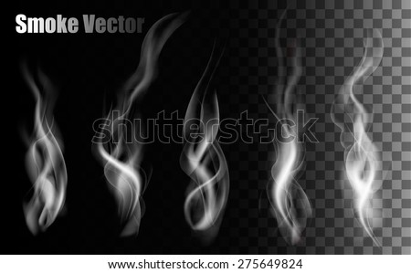 Smoke vectors on transparent background.  - stock vector