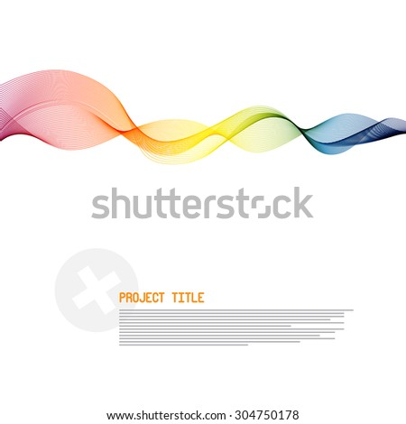 Smoke - Wave Colorful Vector Illustration with Sample Text Layout - stock vector