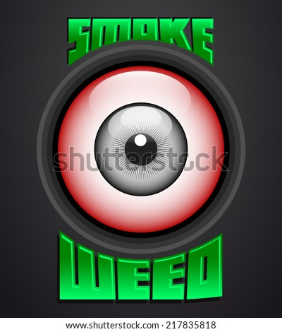 Smoke weed, red eye icon - emblem - weed is another name for marijuana - stock vector