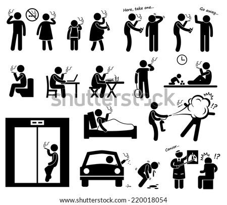 Smokers Smoking Stick Figure Pictogram Icons - stock vector