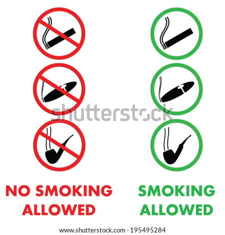 Smoking Allowed And Not Allowed Icons - stock vector