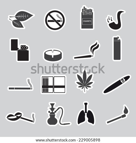 smoking and cigarettes simple black stickers set eps10 - stock vector