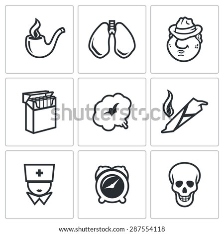 Smoking and effects on the body icons set. Vector Illustration. Isolated Flat Icons collection on a white background for design - stock vector