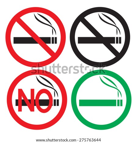Smoking area and No Smoking area sign on white background, vector illustration. - stock vector