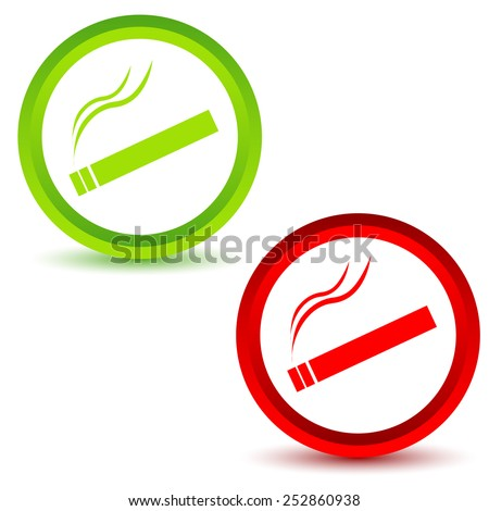 Smoking Area icons set on a white background. Vector illustration - stock vector