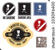 Smoking area sign. No smoking sign. Smoker sign label and badges. - stock vector