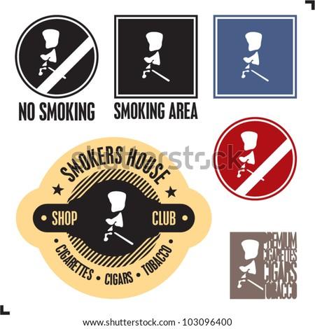 Smoking area sign. No smoking sign. Smoker sign label and badges. - stock vector