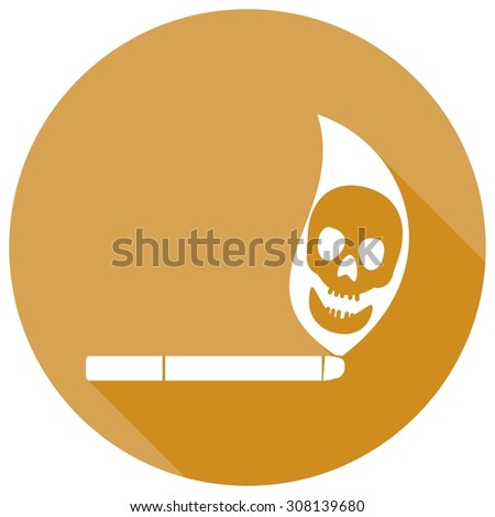 Smoking cigarette flat design with long shadow. - stock vector