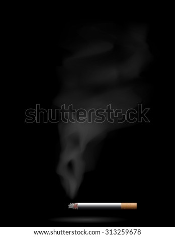 Smoking cigarette on black  - stock vector