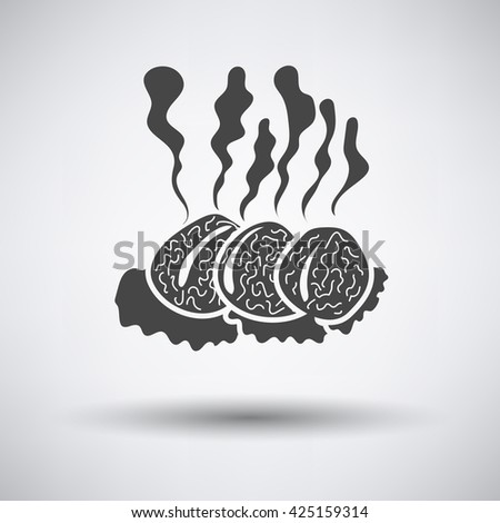 Smoking cutlet icon on gray background with round shadow. Vector illustration. - stock vector