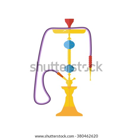 Smoking hookah vector icon isolated on white background. Arabic flat style tobacco tools icons. - stock vector