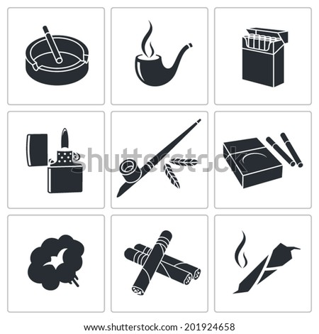 Smoking Icon set - stock vector