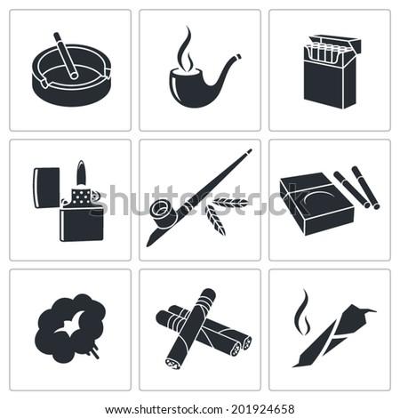 Smoking Icon set - stock vector
