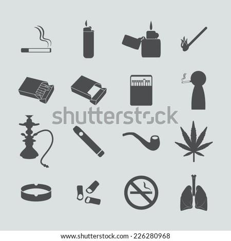 Smoking icons set - stock vector