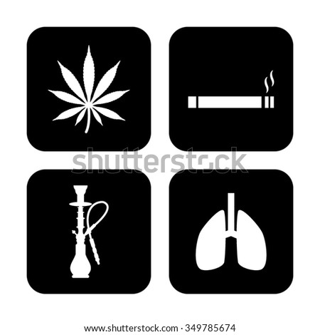 Smoking icons set - stock vector