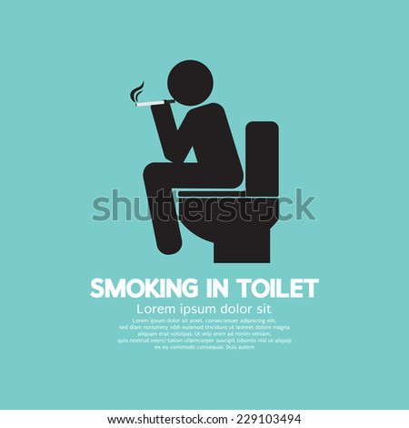 Smoking in Toilet Graphic Symbol Vector Illustration - stock vector