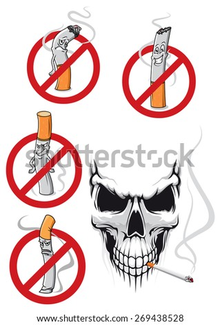 Smoking kills and no smoking concepts in cartoon style with cigarettes in prohibition signs and spooky skull with cigarette for healthcare concept design - stock vector