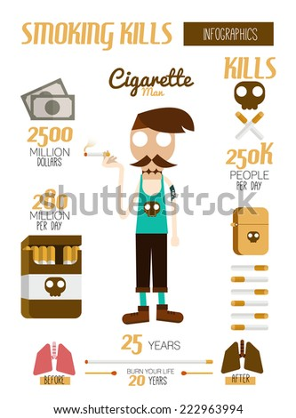 Smoking kills infographic. flat design element. vector illustration - stock vector