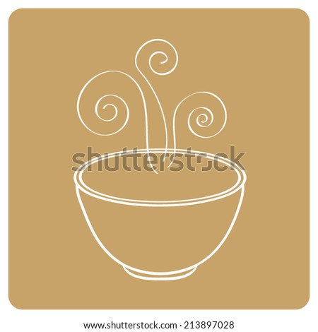 Smoking oriental soup bowl - stock vector