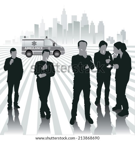 Smoking people silhouettes. Vector illustration - stock vector