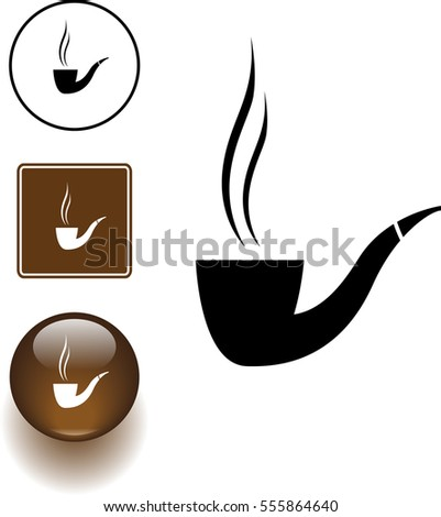 smoking pipe symbol sign and button