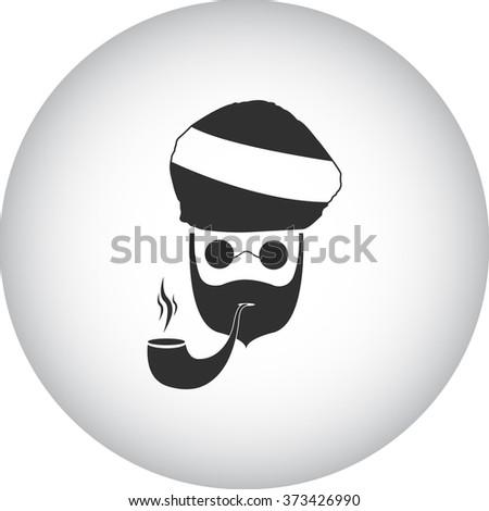 Smoking rasta man marijuana simple icon on background - stock vector