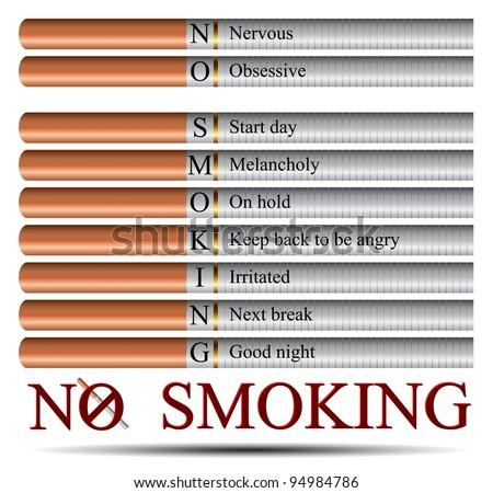Smoking reasons wrote on cigarettes - stock vector