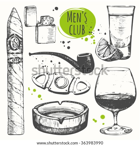 Smoking set. Cuban rum and cigars in sketch style. Vector illustration with ashtray, rum, cigar, lighter, cigars, pipes, guillotines for cigars. Classical smoking set. - stock vector
