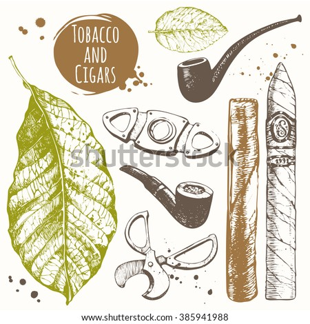 Smoking set. Tobacco and cigars in sketch style. Vector illustration with cigars, pipes, guillotines for cigars, leaf tobacco. Classical smoking set. - stock vector