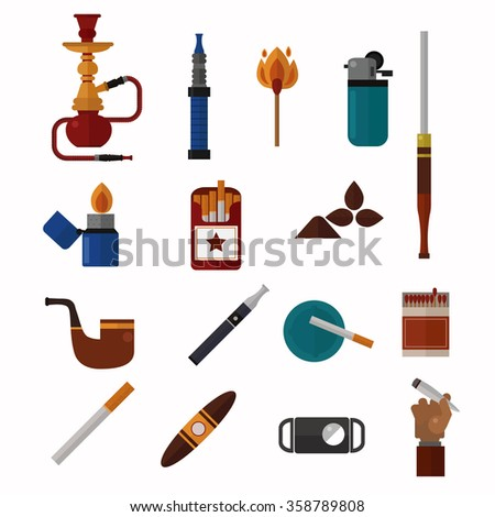 Smoking silhouette vector icons collection. Tabacco tools, sigarette, cigars, habit icons. Tabacco smoker tools icons vector. Cigars vector set, tabacco, nicotine. Health problems, smoke tools - stock vector