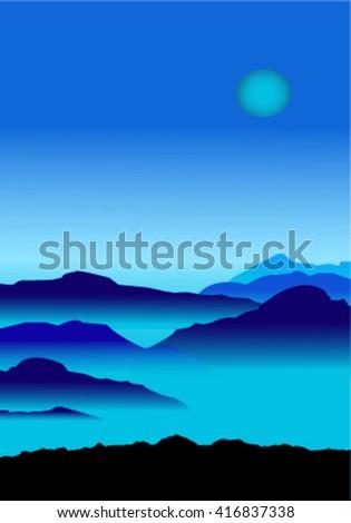 Smoky mountains at night - stock vector